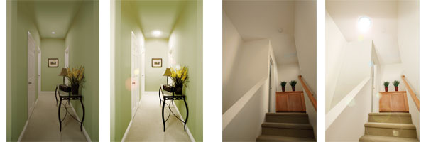 Solatube Hallway.Stairwell Before and After